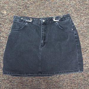 TOPSHOP black jean skirt with belt embellishments